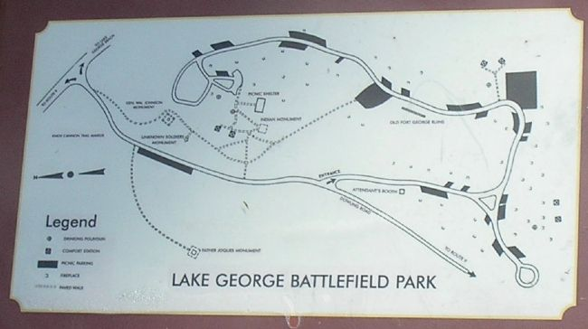 Lake George Battlefield Park Map from Marker image. Click for full size.