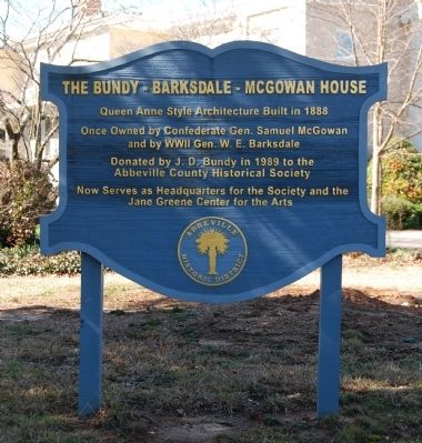 The Bundy-Barksdale-McGowan House Marker image. Click for full size.