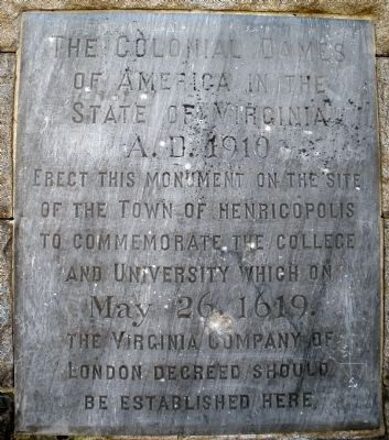 Town of Henricopolis Marker image. Click for full size.