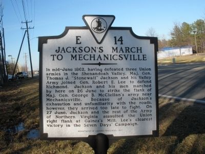 Jackson's March to Mechanicsville Marker image. Click for full size.