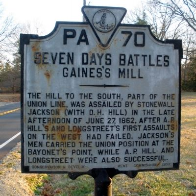 Seven Days Battles, Gaines's Mill Marker image. Click for full size.