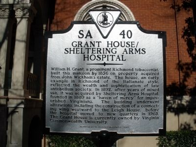 Grant House / Sheltering Arms Hospital Marker image. Click for full size.