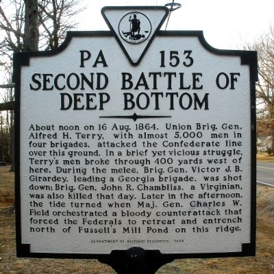 Second Battle of Deep Bottom Marker image. Click for full size.