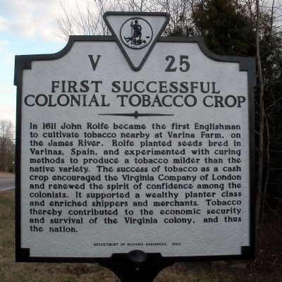 First Successful Colonial Tobacco Crop Marker image. Click for full size.