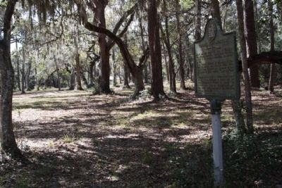 Colonel John McIntosh Marker looking down wagon road which re-joins Fairhope Rd image. Click for full size.