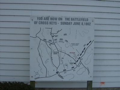 Map of the Battle of Cross Keys next to the marker image. Click for full size.
