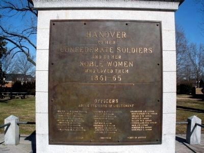 Hanover Confederate Soldiers Monument Inscription. image. Click for full size.