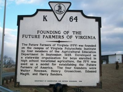 Founding of the Future Farmers of Virginia Marker image. Click for full size.