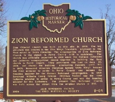 Zion Reformed Church Marker image. Click for full size.