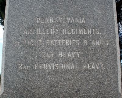Pennsylvania Artillery Regiments (west face). image. Click for full size.