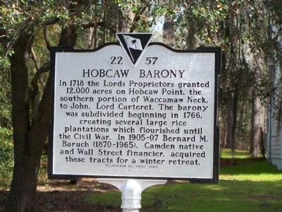 Hobcaw Barony Marker image. Click for full size.