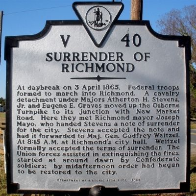 Surrender of Richmond Marker image. Click for full size.