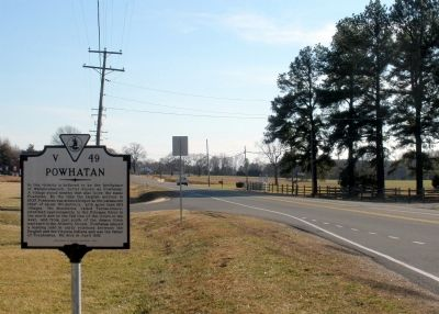 Powhatan Marker on New Market Road facing south. image. Click for full size.