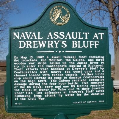 Naval Assault at Drewry's Bluff Marker image. Click for full size.
