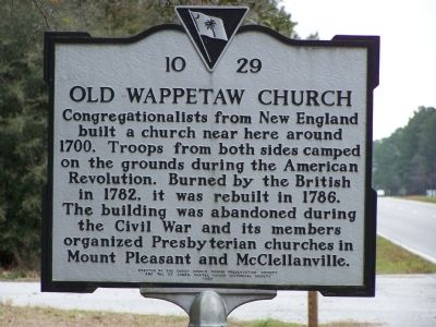 Old Wappetaw Church Marker image. Click for full size.