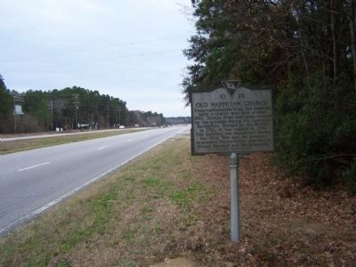 Old Wappetaw Church Marker, looking south along US17 image. Click for full size.