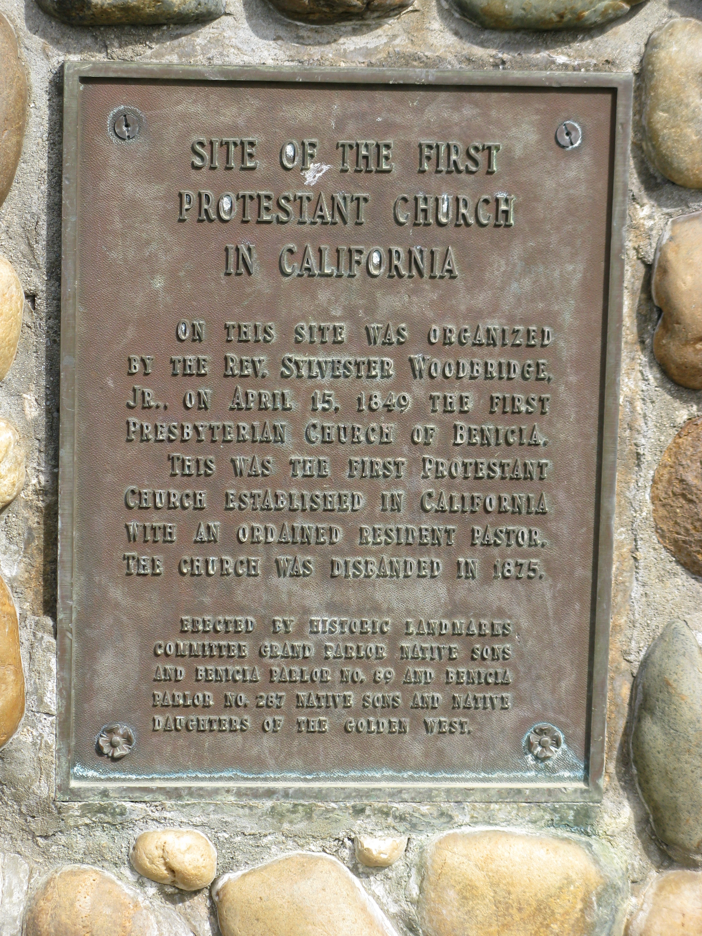 Site of the First Protestant Church in California Marker