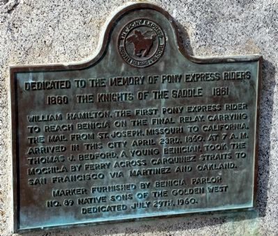Dedicated to the Memory of Pony Express Riders Marker image. Click for full size.