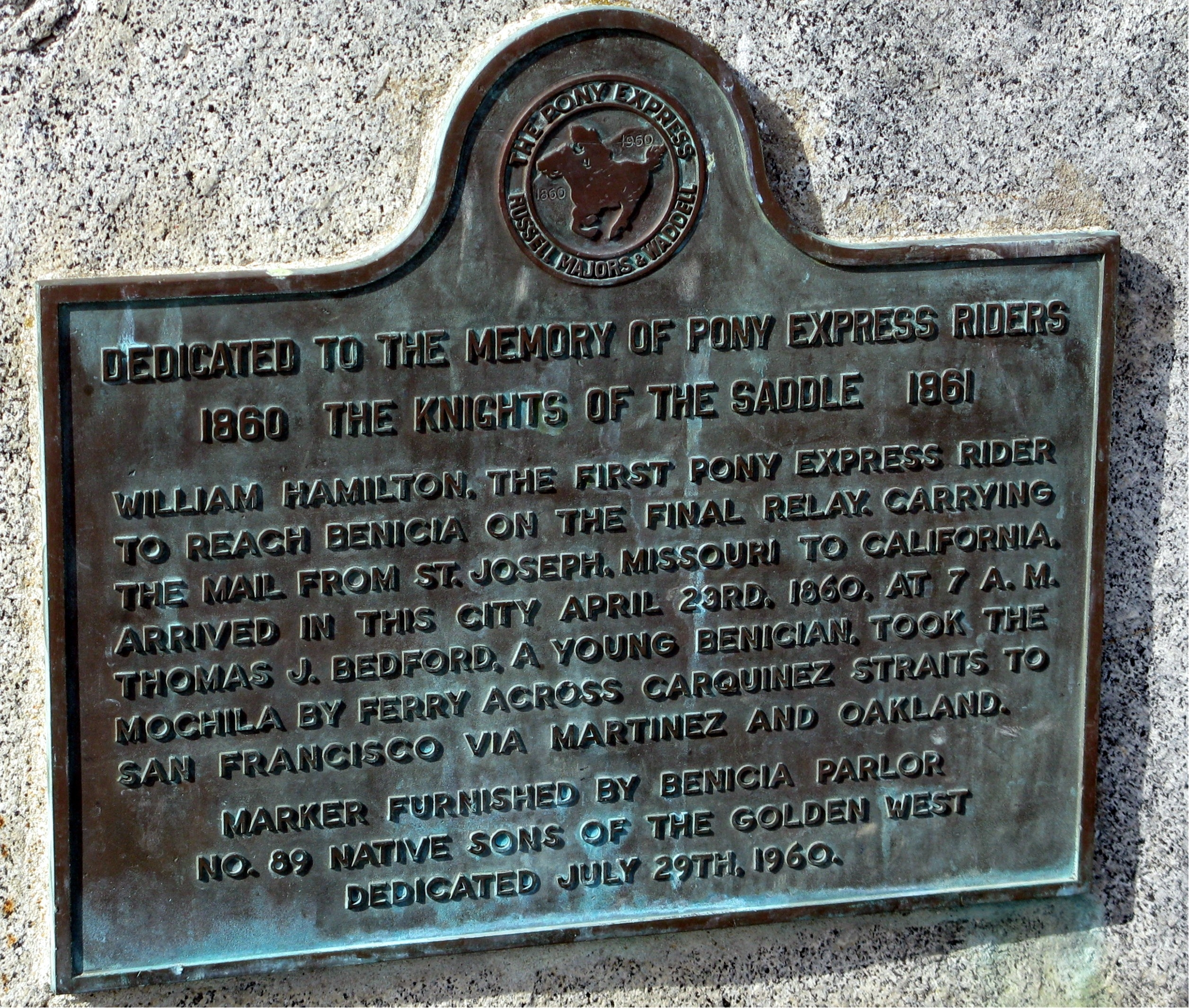 Dedicated to the Memory of Pony Express Riders Marker