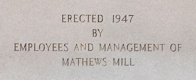 Mathews Mill Veterans Monument -<br>South Side image. Click for full size.