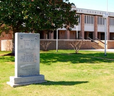 In God We Trust Marker -<br>Greenwood County Courthouse in Rear image. Click for full size.