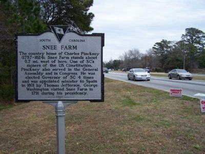 Snee Farm Marker, looking northward along US 17 image. Click for full size.