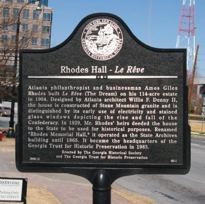 Rhodes Hall - Le Reve Marker image. Click for full size.