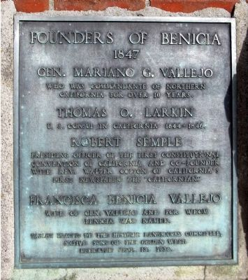 Founders of Benicia Marker image. Click for full size.