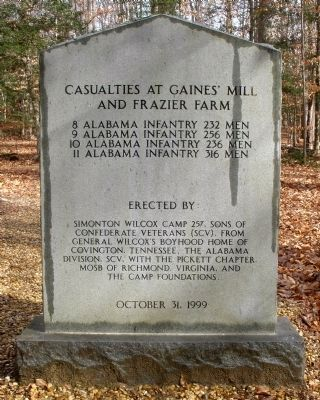 Wilcox's Alabama Brigade Monument (back) image. Click for full size.