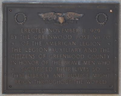 World War Memorial Marker -<br>North Side image. Click for full size.