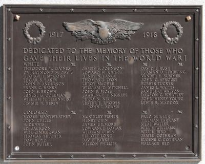 World War Memorial Marker -<br>West Side image. Click for full size.