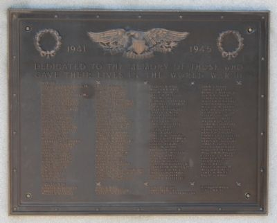 World War Memorial Marker -<br>East Side image. Click for full size.