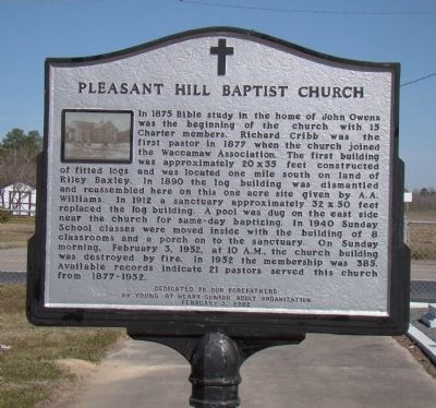 Pleasant Hill Baptist Church Marker image. Click for full size.