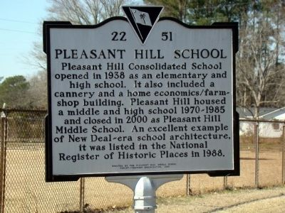 Pleasant Hill School Marker image. Click for full size.