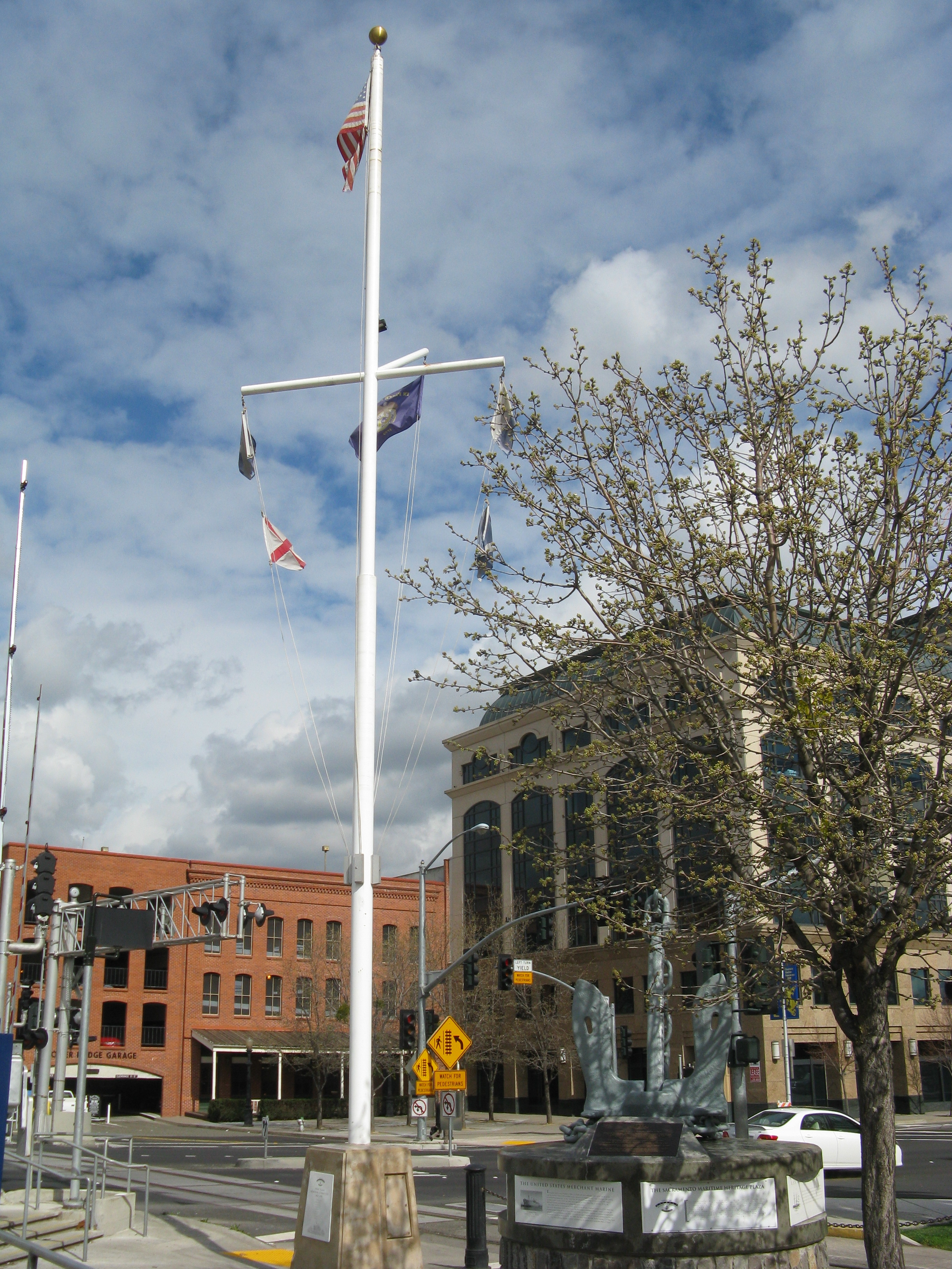 The AMMV Plaza Memorial Committee Plaque and Flag Mast