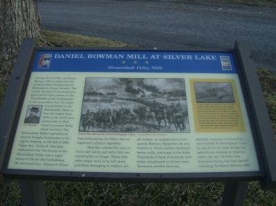 Daniel Bowman Mill at Silver Lake Marker image. Click for full size.
