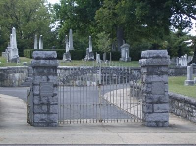 Woodbine Cemetery gates showing the two markers image. Click for full size.