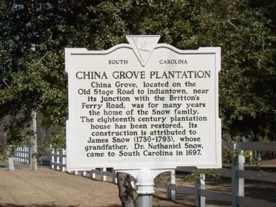 China Grove Plantation Face of Marker image. Click for full size.