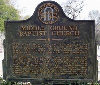 Middle Ground Baptist Church Marker image. Click for full size.