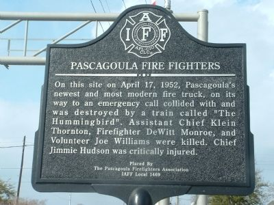 Pascagoula Fire Fighters Marker image. Click for full size.