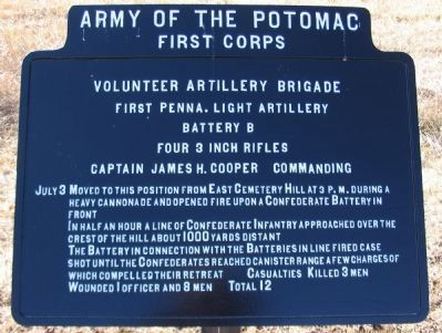 Battery B, First Pennsylvania Light Artillery Tablet image. Click for full size.