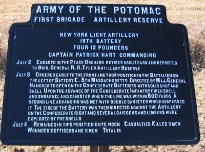 15th Battery New York Light Artillery Tablet image. Click for full size.