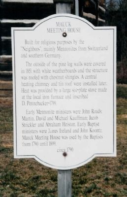 Mauck Meeting House Marker image. Click for full size.