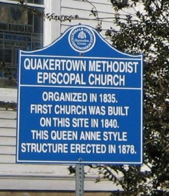 Quakertown Methodist Episcopal Church Marker image. Click for full size.