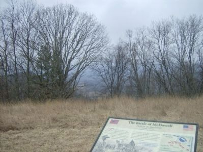 View from the Battle of McDowell Marker, west toward McDowell image. Click for full size.