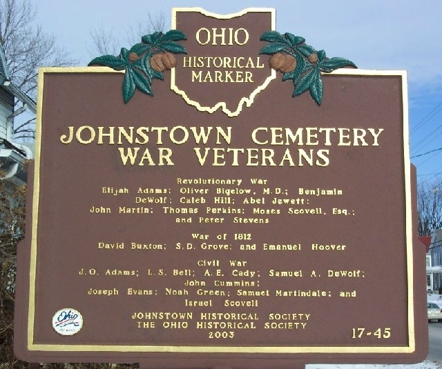 Johnstown Cemetery War Veterans Marker (Side B)