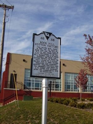 Rock Hill Cotton Factory Marker </b>(front) image. Click for full size.