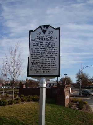 Rock Hill Cotton Factory Marker </b>(reverse) image. Click for full size.