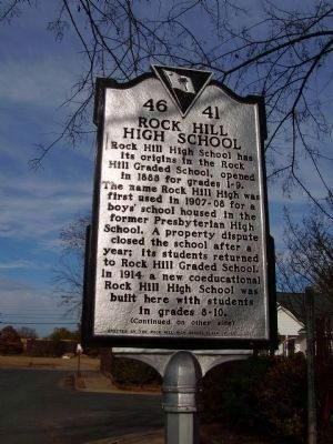 Rock Hill High School Marker </b>(front) image. Click for full size.