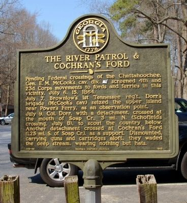 The River Patrol & Cochran's Ford Marker image. Click for full size.